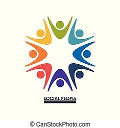 カラフルである, 人々, 手アップ, チームワーク, 社会