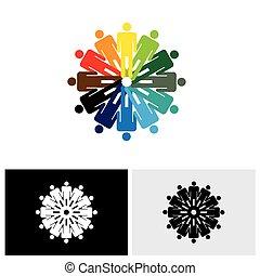 カラフルである, 人々, 抽象的, 一緒に, ベクトル, 手を持つ, ロゴ, アイコン