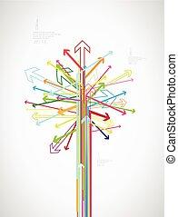 カラフルである, 作成される, text., 木, 場所, 矢, あなたの