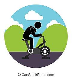 カラフルである, 円, 風景, ∥で∥, 人, 中に, くるくる回る, 自転車