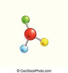 カラフルである, 分子, 隔離された, イラスト, ベクトル, モデル