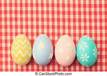 カラフルである, 卵, 効果, フィルター, レトロ, テーブルクロス, イースター