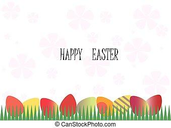 カラフルである, 卵, 芝生に, 中に, ∥, 背景, ピンク, flowers.