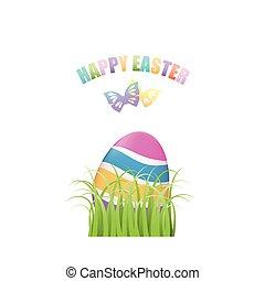 カラフルである, 卵, 蝶, 緑の草, イースター