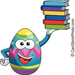 カラフルである, 卵, 隔離された, 本, 保有物, 飾られる, イースター, 山, マスコット