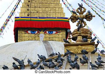 カラフルである, 吹流し, ネパール, stuba, bodhnath, kathmandu, 宗教