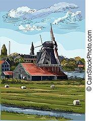 カラフルである, 図画, オランダ, ベクトル, 5, 手