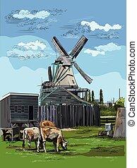 カラフルである, 図画, オランダ, 1, ベクトル, 手