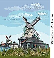 カラフルである, 図画, オランダ, 3, ベクトル, 手
