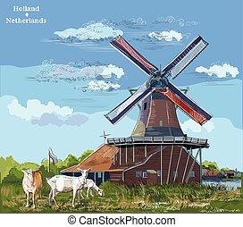 カラフルである, 図画, オランダ, 4, ベクトル, 手