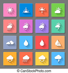 カラフルである, 天候, アイコン, セット
