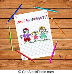 カラフルである, 孫娘, 子供, 挨拶, 手, ベクトル, 一緒に。, 祖母, 引かれる, おじいさん, カード