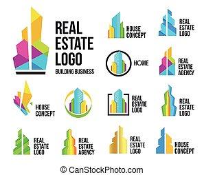 カラフルである, 家, ロゴ, logotype, 白, 実質, セット, 超高層ビル, 隔離された, 家, 代理店, コレクション, ベクトル, 財産, illustration., 概念アイコン