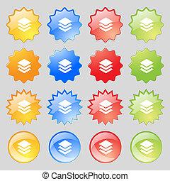 カラフルである, 層, ボタン, あなたの, 現代, 16, セット, アイコン, 印。, 大きい, design.