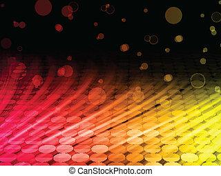 カラフルである, 抽象的, ディスコ, 黒い背景, 波
