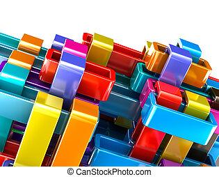 カラフルである, 抽象的, ブロック, 背景