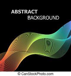カラフルである, 抽象的, ライン, 波, 黒い背景