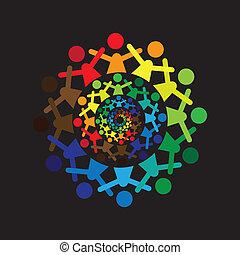 カラフルである, 抽象的, 一緒に, graphic-, ベクトル, icons(si, 子供, 概念
