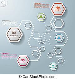 カラフルである, 抽象的, 六角形, 接続, infographic, 6, オプション