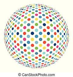 カラフルである, 抽象的, 球, ベクトル, 背景, モザイク, 3d