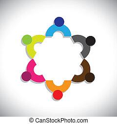 カラフルである, 抽象的, 経営者, mee, graphic-, ベクトル, 概念, 会社