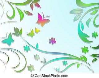 カラフルである, 抽象的, butterfli, ペーパー, 背景, 花, 花