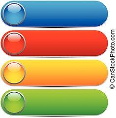 カラフルである, 明るい, グロッシー, 円形にされる, 長方形, co, テンプレート, banners., ...