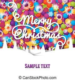 カラフルである, 明るい, レタリング, 陽気, カード, 背景, クリスマス, 挨拶, laces., 作られた, 渦巻
