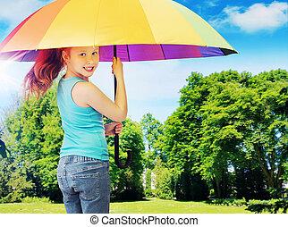 カラフルである, 映像, 提出すること, redhead, 女の子, 傘を握ること