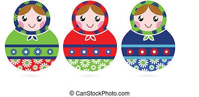 カラフルである, 木製である, 隔離された, 伝統的である, ロシア人, 白, 人形