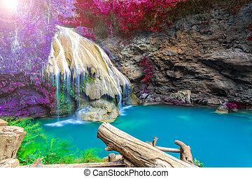 カラフルである, 木, 滝, タイ, すばらしい