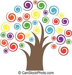 カラフルである, 木, swirly