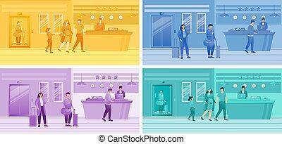 カラフルである, 机, 特徴, 点検, ホテル, 受付係, clients., 観光客, 現場, ベクトル, 登録, ...