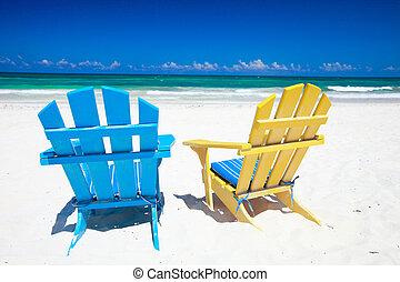 カラフルである, 椅子, 上に, 浜