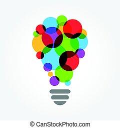 カラフルである, 概念, ライト, 考え, 創造的, 電球
