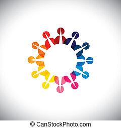 カラフルである, 概念, 遊び, -, 友情, グラフィック, 従業員, 人々, ベクトル, 多民族, 子供, &, ...