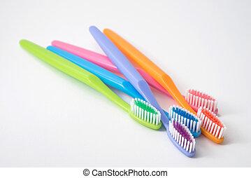 カラフルである, 歯ブラシ, 白, 背景
