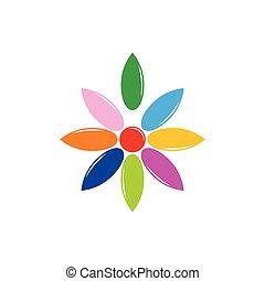カラフルである, 水, 花, 低下, ロゴ, 形