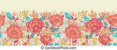 カラフルである, 活気に満ちた, seamless, パターン, 横, 花, ボーダー