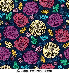 カラフルである, 活気に満ちた, seamless, 暗い背景, パターン, 花