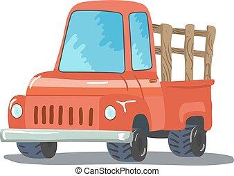 カラフルである, 漫画, レトロ, ピックアップ, truck., ベクトル