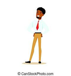 カラフルである, 特徴, 若い, イラスト, アメリカ人, ベクトル, アフリカ, ビジネスマン, 微笑, 漫画, standing.