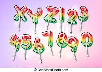 カラフルである, 甘い, キャンデー, アルファベット, 壷, lollipop