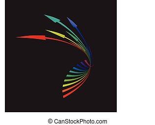 カラフルである, 矢, イラスト, 背景, ベクトル, 黒