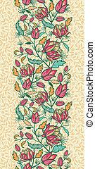 カラフルである, 縦, パターン, 葉, seamless, 花, ボーダー