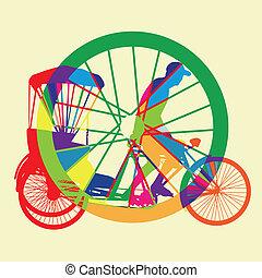 カラフルである, 自転車, タクシー, シルエット, ve