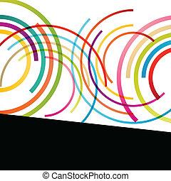 カラフルである, 色, 抽象的, ライン, イラスト, ラウンド, ベクトル, 背景, 波, 円, 楕円, モザイク