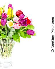 カラフルである, 花束, の, 新たに, チューリップ, 花