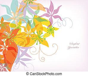 カラフルである, 花, ロマンチック, ベクトル, バックグラウンド。
