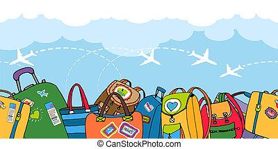 カラフルである, 袋, 多数, スーツケース, バックパック